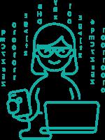 Picto Femme qui travaille dans l'informatique