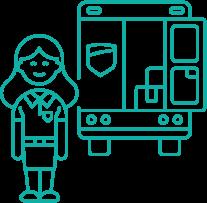 Picto femme qui travaille dans le transport et la logistique